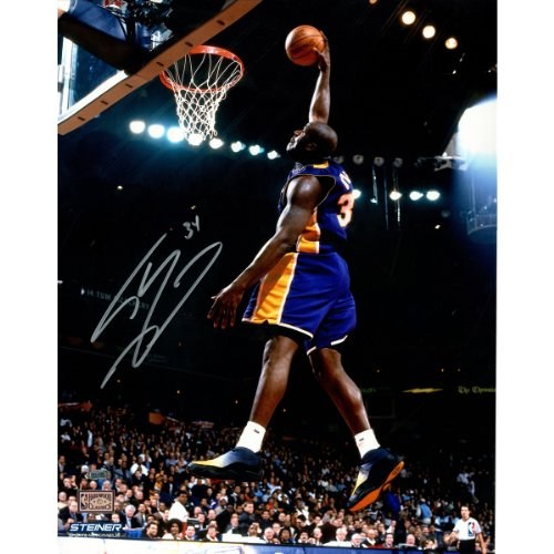 Autographed Shaquille Photograph Oneal - NBA Los Angeles Lakers Shaquille O'Neal Signed Dunk in Purple Photograph, 16