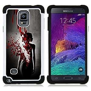 """Samsung Galaxy Note 4 IV / SM-N910 - 3 en 1 impreso colorido de Altas Prestaciones PC Funda chaqueta Negro cubierta gel silicona suave (Sangre Rose Petal Vestido Negro Mujer"""")"""