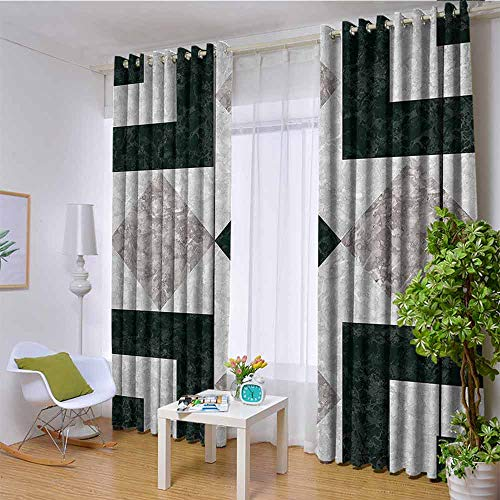 hengshu Apartment Decor Wear-Resistant Color Curtain Nostalgic Marble Stone Mosaic Regular Design with Alluring Elements Image 2 Panel Sets W96 x L84 Inch Pearl