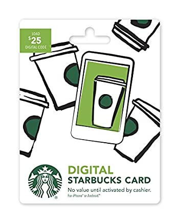starbucks digital gift card 25 no plastic card enclosed code only gift cards. Black Bedroom Furniture Sets. Home Design Ideas
