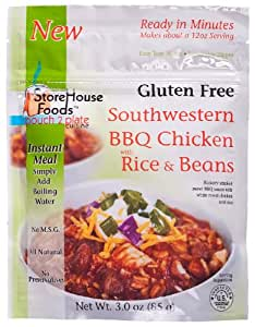 StoreHouse Foods Gluten Free Southwestern BBQ Chicken with Rice and Beans, 3-Ounce Pouches (Pack of 3)