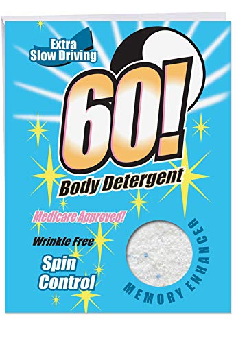 - 60 Body Detergent Birthday Card' Big Greeting Card with Envelope 8.5 x 11 Inch - Fake Laundry Powder Box, Adulting, 30 and Above, Grown Up, Personalized Happy Bday Greetings and Wishes J5173