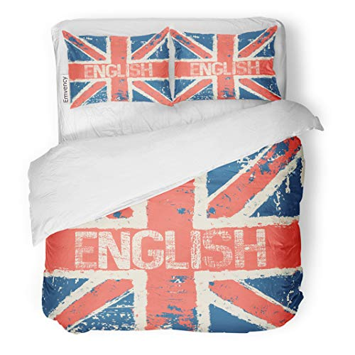 Semtomn Decor Duvet Cover Set Twin Size England Great Britain Flag Red White Blue British English 3 Piece Brushed Microfiber Fabric Print Bedding Set Cover -