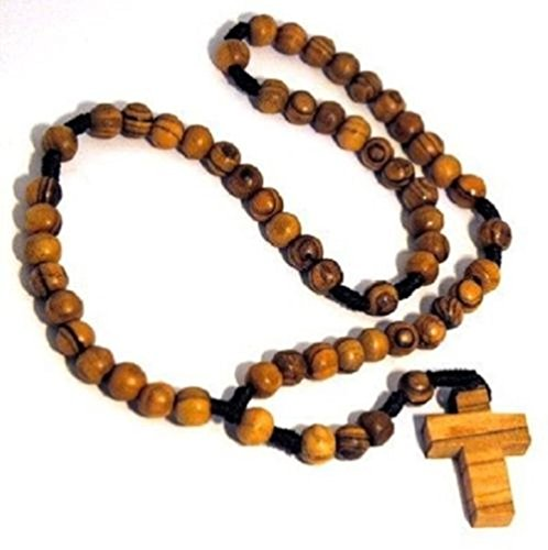 - Holy Land Olive Wood Brown Beads Rosary Necklace with Olive Wood Cross Jerusalem