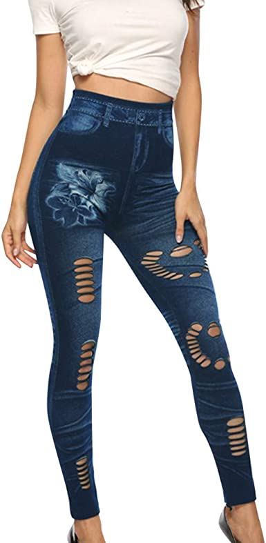 Womens Pants Pull-On Ripped Distressed Stretch Legging Denim Jean Plus Pants