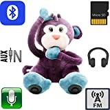 "12"" Multifunction Monkey Plush Toy Bluetooth Wireless Micro SD Memory Card Stereo Speaker w/ FM Radio Microphone Rechargeable Battery (Gift Retail Package) Purple"