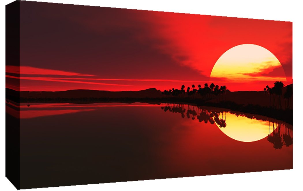 """LARGE RED SEA SUNSET CANVAS PICTURE WALL ART A1 34/"""" X 20/"""""""