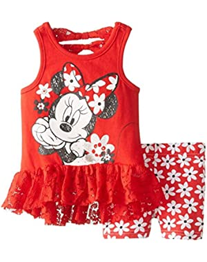 Infant Girls Minnie Mouse 2 PC Red Flower Shirt & Shorts Outfit 12 Months