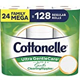 Cottonelle Ultra GentleCare Toilet Paper with Gentle CleaningRipples, 24 Family Mega Rolls, Sensitive Bath Tissue with Aloe & Vitamin E