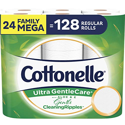 Cottonelle Ultra Gentlecare Toilet Paper with Gentle Cleaningripples, 24 Family Mega Rolls, Sensitive Bath Tissue with Aloe & Vitamin E (Cottonelle Toilet Paper Bulk)