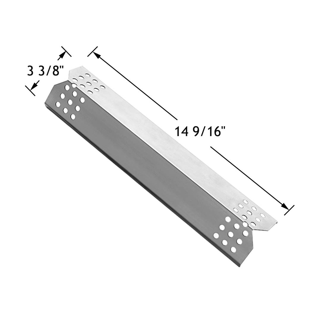 YIHAM KS708 Replacement Parts for Grill Master 720-0697 Nexgrill 720-0830H 720-0783E 720-0737 BBQ Heat Shield Plate Tent Burner Cover Flame Tamer, 14 9/16 inch x 3 3/8 inch, Stainless Steel, Set of 4 by YIHAM (Image #2)