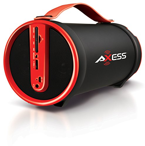 AXESS SPBT1033 Portable Bluetooth Indoor/Outdoor 2.1 Hi-Fi Cylinder Loud Speaker with Built-In 4