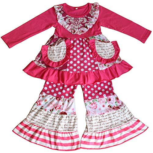 (QLIyang Baby Girl Christmas Outfit Long Sleeve Ruffle Dress and Pants Set 6T)