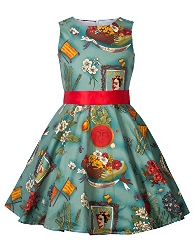 Girls 50s Vintage Swing Rockabilly Retro Sleeveless Party Dress for Occasion ()