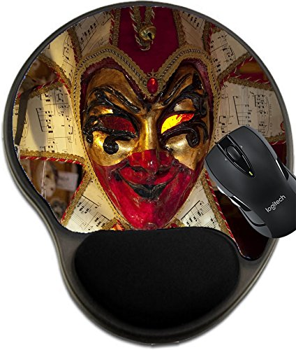 MSD Natural Rubber Mousepad wrist protected Mouse Pads/Mat with wrist support design: 6076035 A white and red carnival mask of Venice