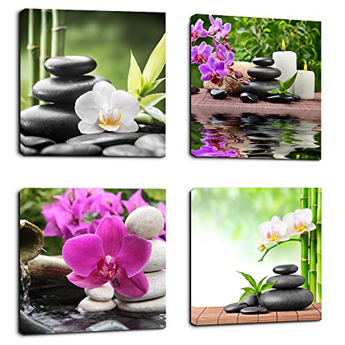 Canvas Spa - Wall Art Zen Canvas Painting SPA Canvas Prints 4 Panels Canvas Art Ready to Hang - Contemporary Pictures Modern Artwork for Bedroom Living Room Bathroom Decoration