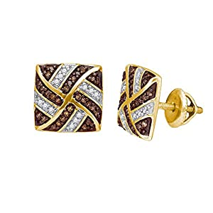 Cognac and White Diamond Fashion Earrings in 10K Yellow Gold (1/4 cttw)