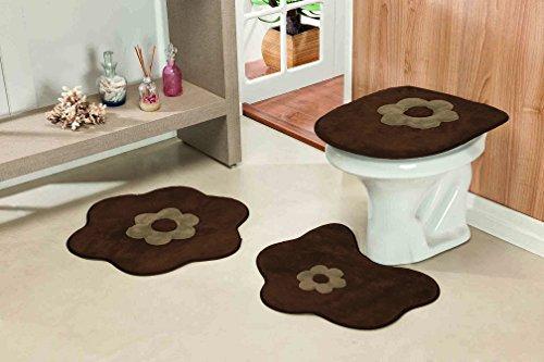Jogo de Banheiro Formato Margarida Standard Guga Tapetes Café 3