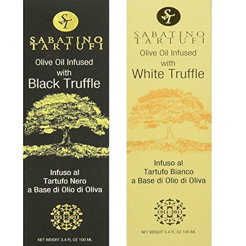 Infused White Truffle Oil (Sabatino Tartufi White Truffle and Black Truffle Olive Oil Variety Pack Certified Kosher OU 3.4 oz - 2 pack)