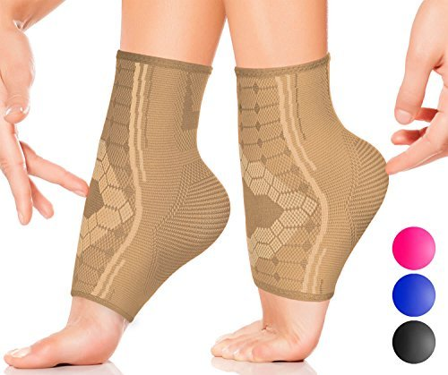 Ankle Compression Sleeves by SPARTHOS (Pair) – Immediate Pain Relief – Plantar Fasciitis Socks with Arch Support (Medium, Desert Beige)