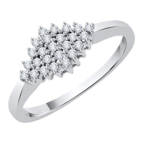 Diamond Cluster Ring in Sterling Silver (1/6 cttw) (GH-Color, I2/I3-Clarity) (Size-6) by KATARINA