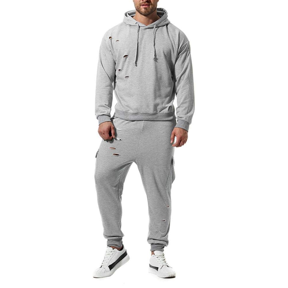 YEBIRAL Herren Destroyed Trainingsanzug Sport Fitness Training Casual Jogginganzug Sportanzug