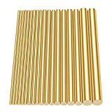 Glarks 18Pcs Brass Solid Round Rod Lathe Bar Stock Assorted for DIY Craft Tool, Diameter 2.5-8mm Length 100mm