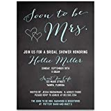Bridal Shower Invitations, Soon to Be Mrs, Black, Blue, White, Chalkboard, Blackboard, Hearts, Bride to Be, Future Mrs, Set of 10 Custom Printed Invites with Envelopes