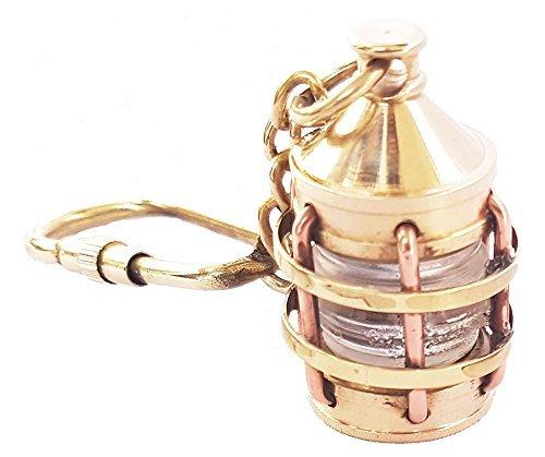 Brass Lantern Keychain Nautical Lantern Key chain Lamp Keyring Key Tag Gift (Autumn Brass Lantern)
