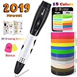 TIPEYE 3D Pen with 18 Colors 10 Feet Each Total 180 Feet PLA Filament Refills 2019 Newest Version, Finger Stalls, Paper Model and 200 Stencils Ebook for Kids, Adult, Doodling, Artist, DIY, Drawing etc
