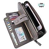 Bosiw Woman RFID Blocking Trifold Wallet Long Clutch Credit Card Organizer Travel Purse (Grey)