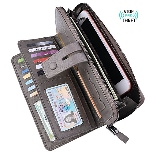 Bosiw Woman RFID Blocking Trifold Wallet Long Clutch Credit Card Organizer Travel Purse (Grey)