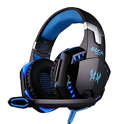 Boompow EACH G2000 Professional 3.5mm PC LED Light Gaming Bass Stereo Noise Canelling Over-ear Headset Headphone Earphones Headband with Mic Microphone HiFi Driver For Laptop Computer - Volume Control(Blue+Black)