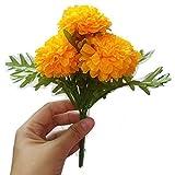 (Pack of 3) Thai Artificial Yellow Marigold Bunch, Artificial flowers, Marigold Flowers, Yellow Flower, Marigold Yellow, Calendula officials (5 stem per 1 case)