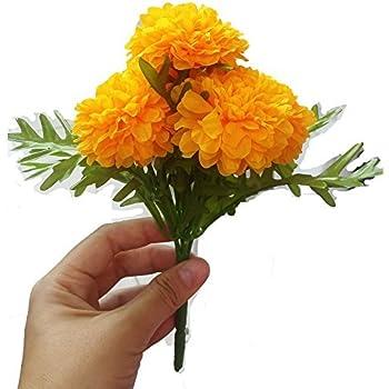 Amazon pack of 3 thai artificial yellow marigold bunch pack of 3 thai artificial yellow marigold bunch artificial flowers marigold flowers mightylinksfo