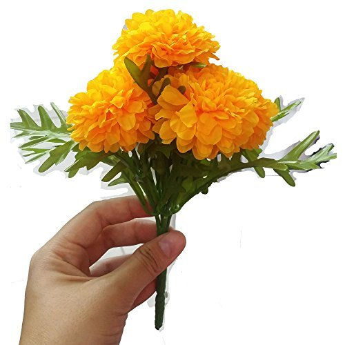 (Pack of 3) Thai Artificial Yellow Marigold Bunch, Artificial flowers, Marigold Flowers, Yellow Flower, Marigold Yellow, Calendula officials (5 stem per 1 case) by GoodGoodsThailand