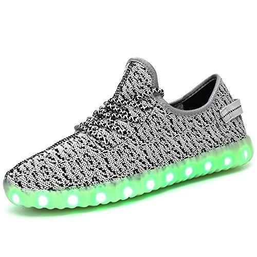 7 Color USB Charge Flashing LED Women Men Breathe Sport Shoes Low Top Lace Up Fabric Sneakers (Grey 43/12 B(M) US Women / 9 D(M) US Men)