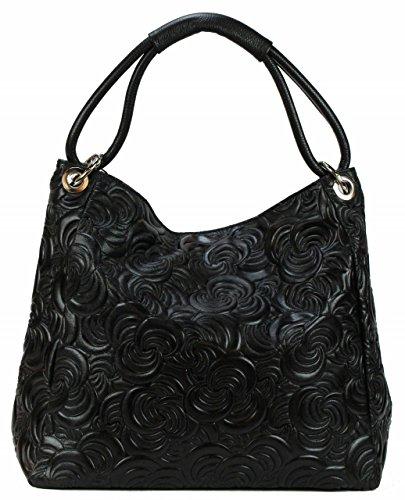 Bozana Bag Kira Schwarz black Italy Designer Damen Handtasche Ledertasche Tasche Wildleder Prägung Shopper Neu