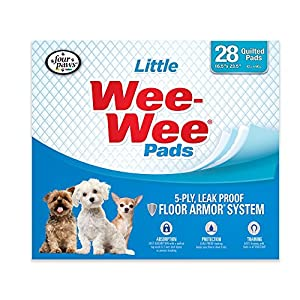 Four Paws Products Wee-Wee Housebreaking Pads for Little Dogs – 28 Pack