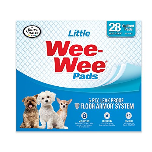 "Four Paws Wee-Wee Puppy Training Pee Pads 28-Count 16.5"" x 23.5"" Little Size Pads for Dogs"