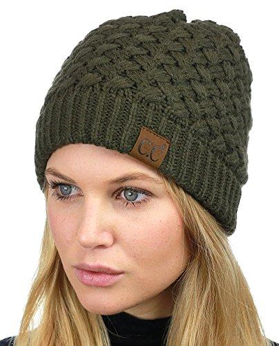 Green Basketweave (C.C Basketweave Knit Warm Inner Lined Soft Stretch Skully Beanie Hat, Dark Olive)