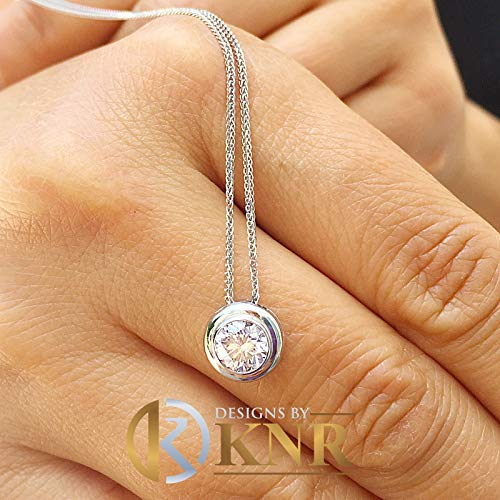 Women's 14k solid white gold round forever one moissanite bezel solitaire necklace and chain, Bridal, Wedding, Anniversary, 1.00ct