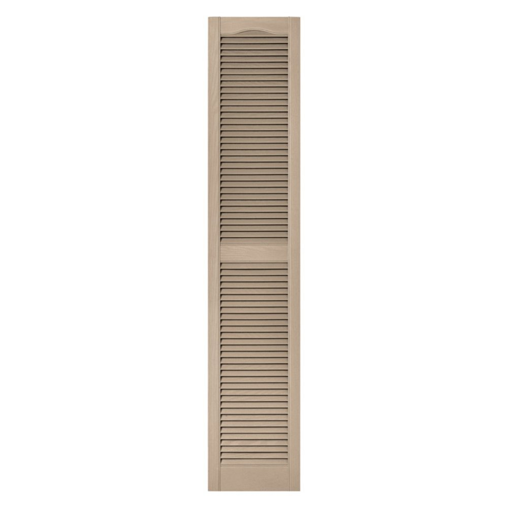 12 in. x 48 in. Louvered Vinyl Exterior Shutters Pair in #023 Wicker