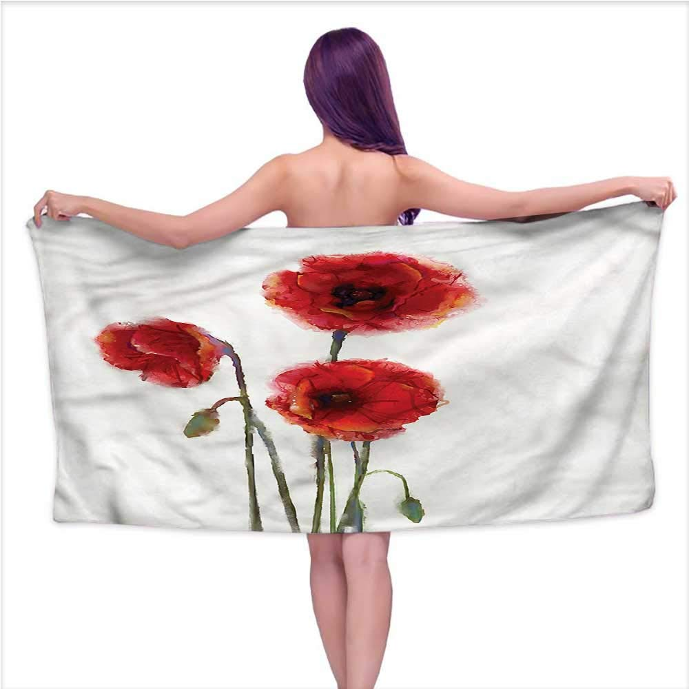 Andasrew Sauna Towel Watercolor Flower,Spring Poppies,W31 xL63 for Kids Mickey Mouse