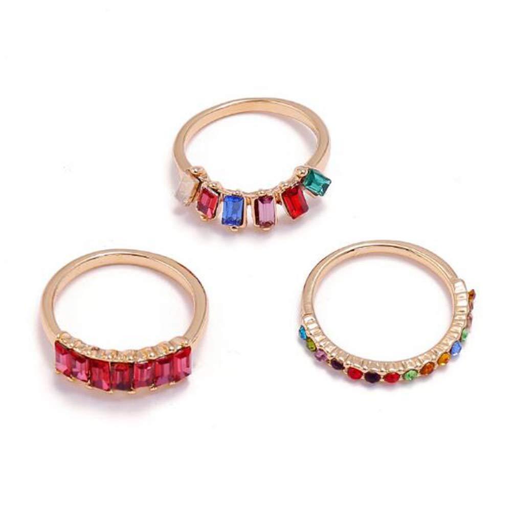 Women's Rainbow Rings Colorful Diamond ring retro 3-piece ring