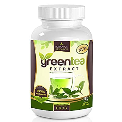 All Natural Green Tea Extract with Premium Blend of EGCG Anti-Aging Antioxidant, 500mg, 180 Capsules by Botanica Research