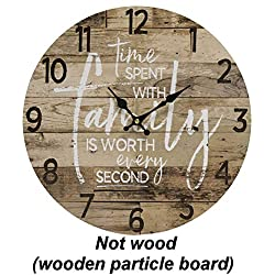 Round Farmhouse Wall Clock - 13 Inches - Decorative Wood Style Quartz Battery Operated Rustic Home Décor Vintage Decoration Retro Design, with Large Arabic Numbers