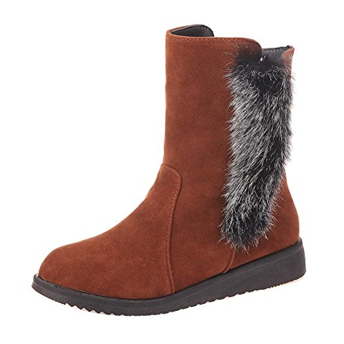 Chaussures Dhiver De La Mode Gbsell Femmes Bottes De Cheville Chaudes Assez (7.5, Marron)