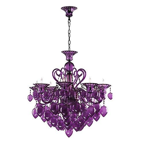 - Hollywood Regency Purple Hand Blown Glass Chandelier 8 Light Chic
