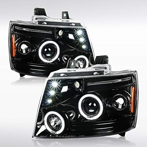 Autozensation For Chevy Avalanche Tahoe Suburban Slick Black LED Halo Projector Headlights Pair